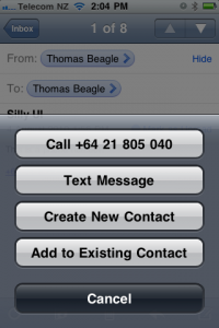 Screenshot showing the press and hold menu with call, text, contacts