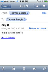 Screenshot of email with highlighted phone number